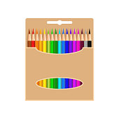 Box of colored pencils, isolated on white background. Colored pencils in cardboard box. Art supplies, stationery for school, office, home. Cute vector illustration in cartoon style
