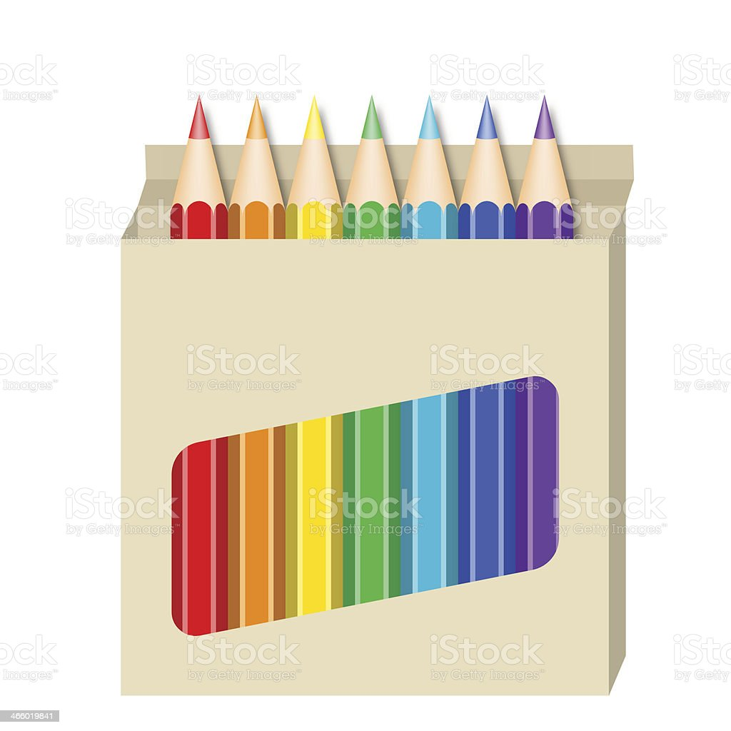 Box Of Coloured Pencils royalty-free box of coloured pencils stock vector art & more images of art and craft equipment