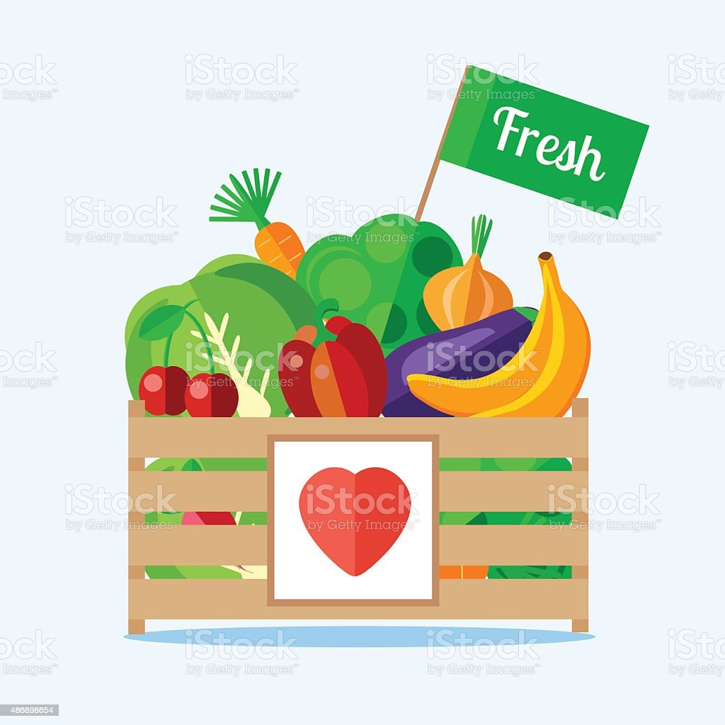Box of fruit and vegetables vector art illustration