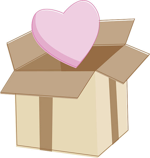 Box of Love Special Delivery, cardboard box with a heart in a sketchy style. Download contains Illustrator CS2 ai, Illustrator 8.0 eps, and high-res jpeg. kathrynsk stock illustrations