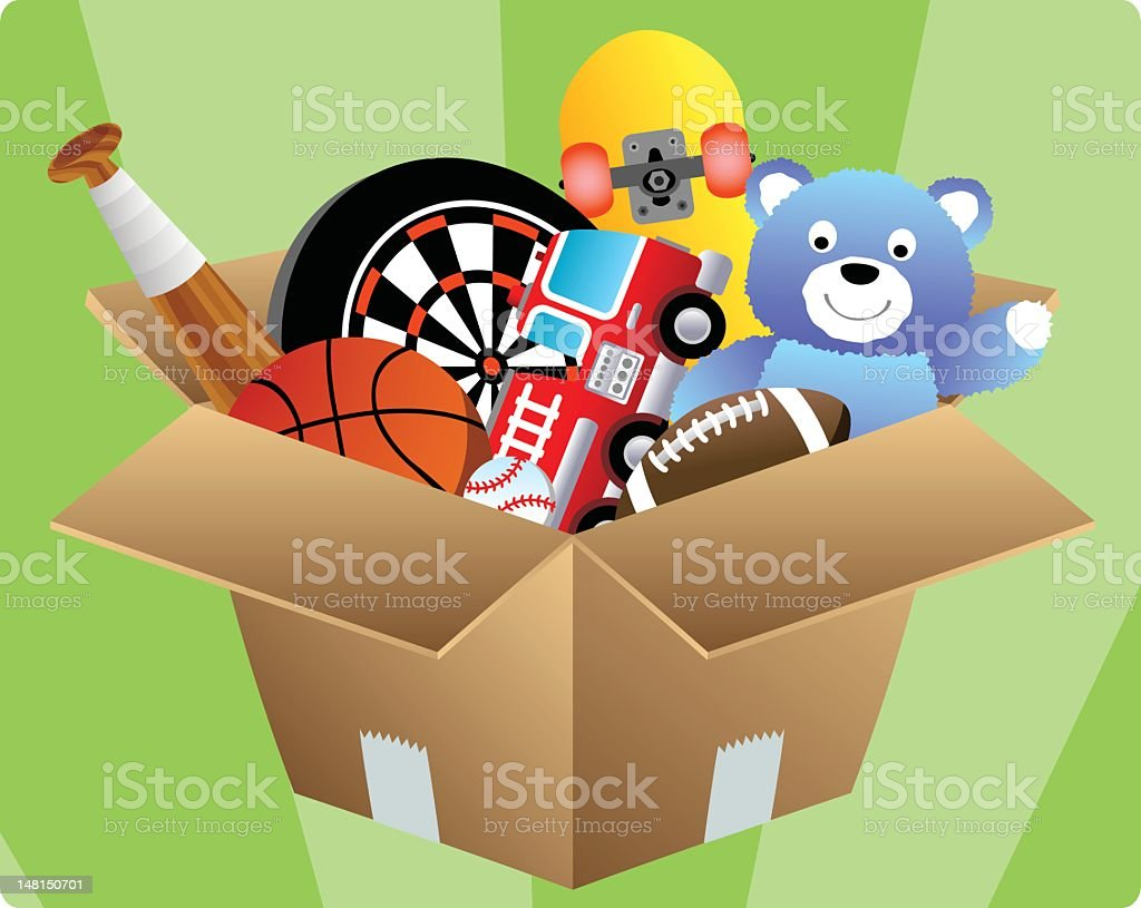 Box of Toys vector art illustration