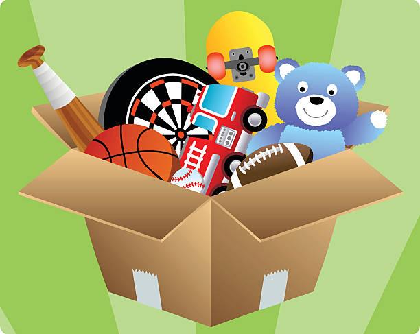 Box of Toys vector art illustration