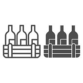 Box of wine bottles line and solid icon. Alcohol drink bottle in wooden crate outline style pictogram on white background. Winery production signs for mobile concept and web design. Vector graphics