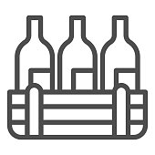 istock Box of wine bottles line icon. Three alcohol drink bottle in wooden crate outline style pictogram on white background. Winery production signs for mobile concept and web design. Vector graphics. 1216983062