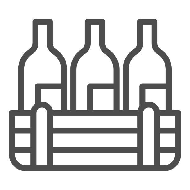 bildbanksillustrationer, clip art samt tecknat material och ikoner med box av vinflaskor linje ikon. tre alkoholdrycksflaska i trälåda kontur stil piktogram på vit bakgrund. vingårdsproduktionsskyltar för mobilt koncept och webbdesign. vektorgrafik. - wood sign isolated