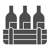 Box of wine bottles solid icon. Three alcohol drink bottle in wooden crate glyph style pictogram on white background. Winery production signs for mobile concept and web design. Vector graphics