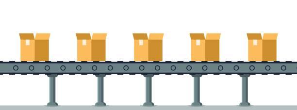 stockillustraties, clipart, cartoons en iconen met vak op automatische mechanische verpakkingslijn transportband - lopende band