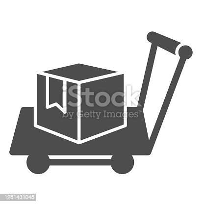 istock Box on warehouse trolley solid icon, logistic concept, hand truck with box sign on white background, Delivery trolley icon in glyph style for mobile concept and web design. Vector graphics. 1251431045