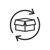 Box package return icon in flat style. Delivery box with arrow illustration on white isolated background. Cargo shipping business concept.