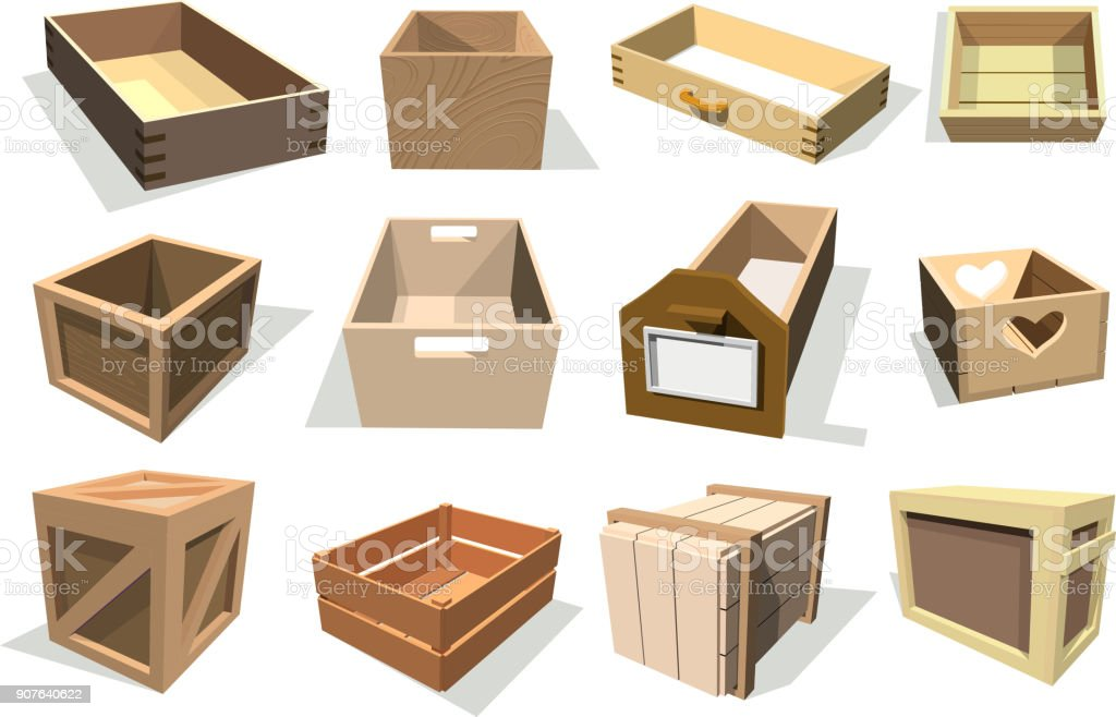Box package vector wooden empty drawers and packed boxes or packaging crates with wood crated containers for delivery or shipping set illustration isolated on white background royalty-free box package vector wooden empty drawers and packed boxes or packaging crates with wood crated containers for delivery or shipping set illustration isolated on white background stock illustration - download image now