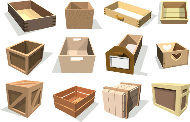 bildbanksillustrationer, clip art samt tecknat material och ikoner med rutan paketet vektor trä tomma lådor och packade lådor eller förpackningar lådor med trä häck behållare för leverans eller frakt set illustration isolerade på vit bakgrund - byrålåda