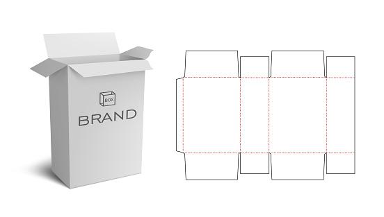 Box Packaging Die Cut Template Design. 3D Mock Up