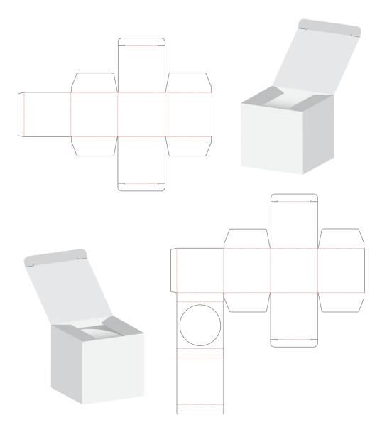 Box packaging die cut template design. 3d mock-up illustration. vector art illustration
