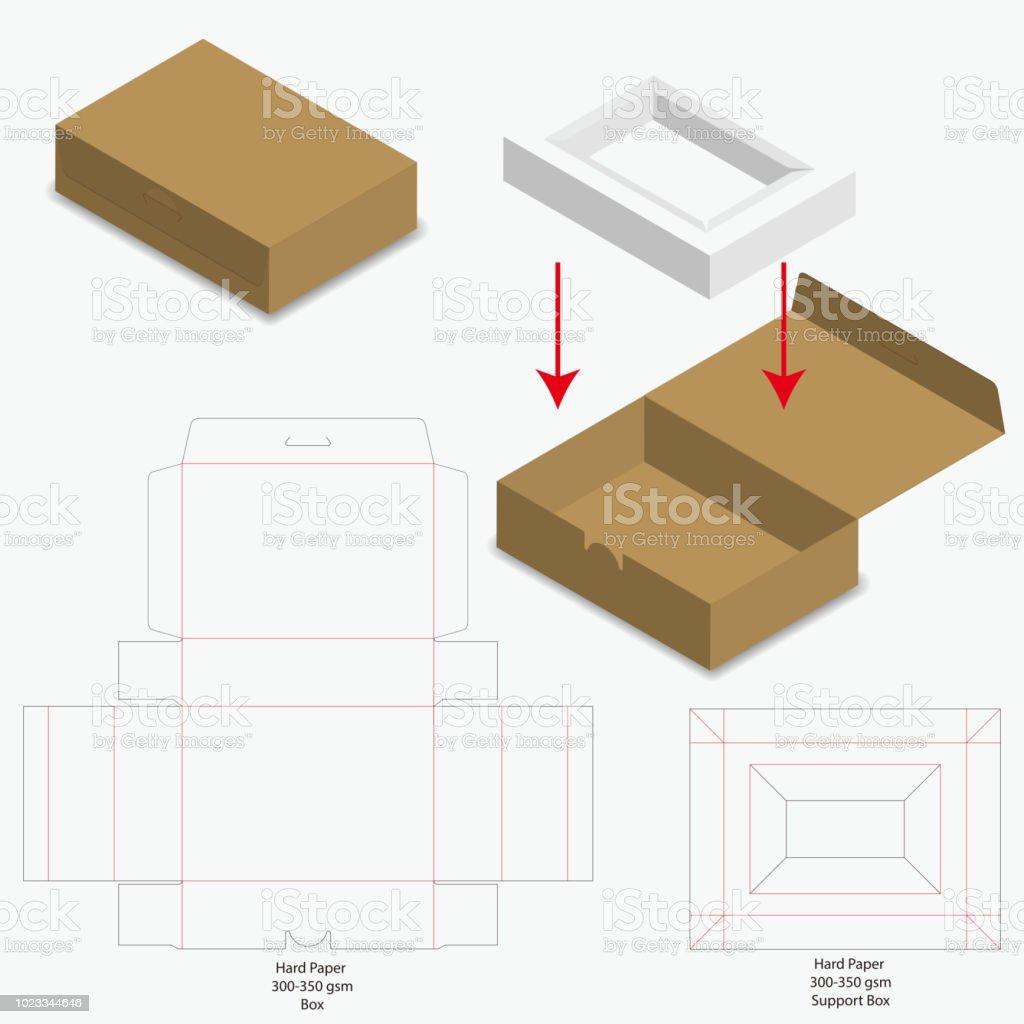 box packaging die cut template design 3d mockup stock vector art