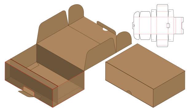 Box packaging die cut template design. 3d mock-up vector art illustration