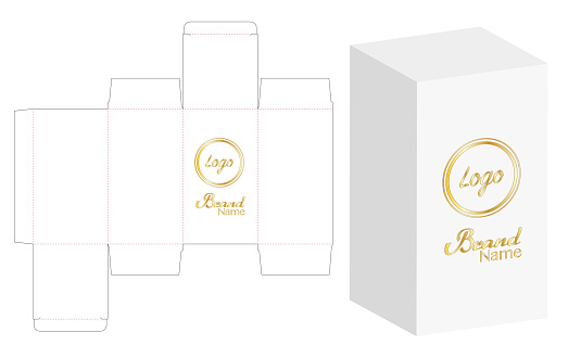 Box packaging die cut template design. 3d mock-up Vector illustration.