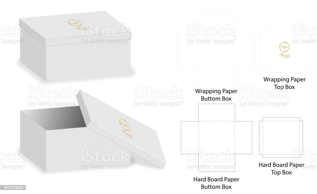 box packaging die cut template design 3d mockup vector illustration