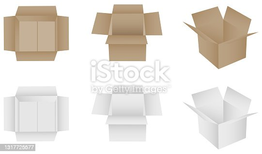 istock Box, packing box white and brown. Vector, cartoon illustration. Vector. 1317725577