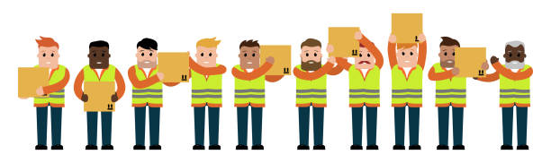 stockillustraties, clipart, cartoons en iconen met box passers - warehouse worker