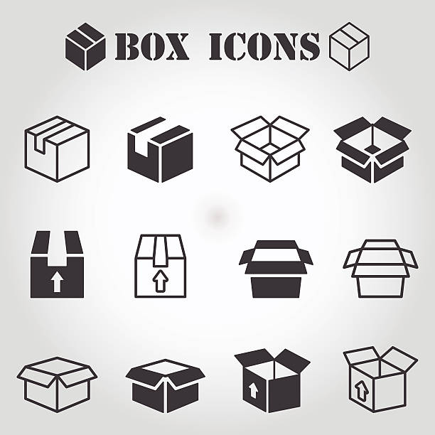 box pictogram - boxes stock illustrations, clip art, cartoons, & icons