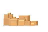 Box pile of stacked sealed goods cardboard boxes. Flat style warehouse cardboard parcel boxes stack. Vector illustration isolated on white background.