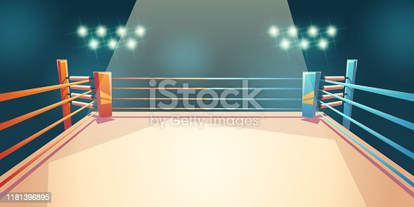 Box ring, arena for sports fighting. Empty illuminated area with spotlights and ropes. Place for boxing, wrestling, presentation of match, competition. Dangerous sport. Cartoon vector illustration
