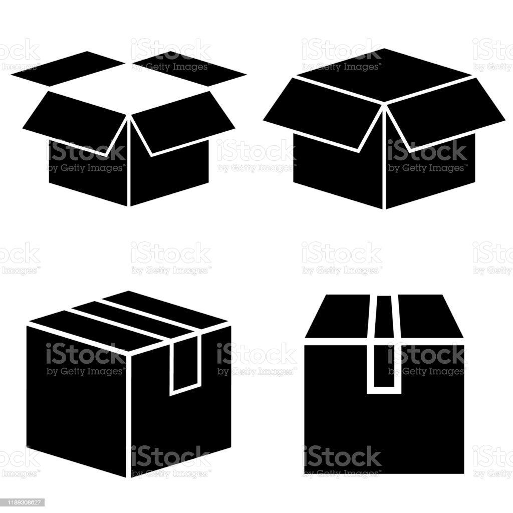 Box set icon, logo isolated on white background. Cardboard box in the open and closed form - Grafika wektorowa royalty-free (Clip Art)