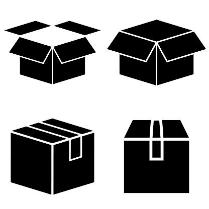 Box Set Icon Logo Isolated On White Background Cardboard Box In The Open And Closed Form - Stockowe grafiki wektorowe i więcej obrazów Clip Art