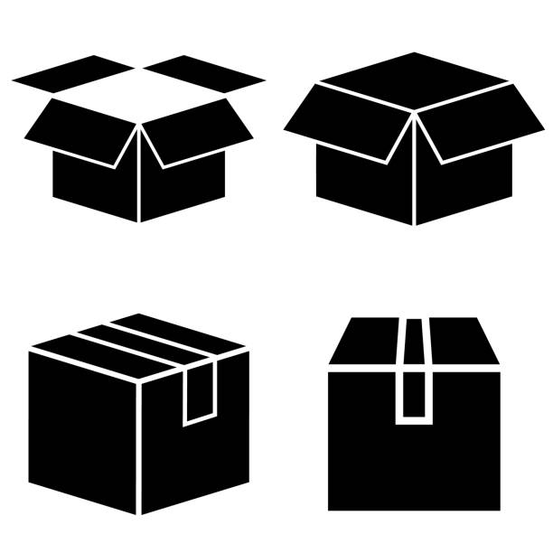 Box set icon, logo isolated on white background. Cardboard box in the open and closed form Box set icon, logo isolated on white background. Cardboard box in the open and closed form package stock illustrations