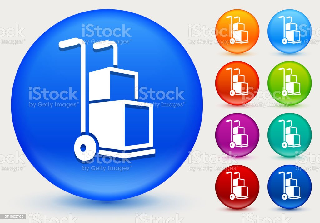 Box Shipment Icon on Shiny Color Circle Buttons royalty-free box shipment icon on shiny color circle buttons stock vector art & more images of box - container
