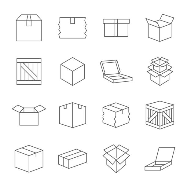 Box signs. Various boxes containers and boxes. line Icon set. Vector illustration. Editable Stroke Box signs. Various boxes containers and boxes. line Icon set. Vector illustration. Editable Stroke. EPS 10 damaged stock illustrations
