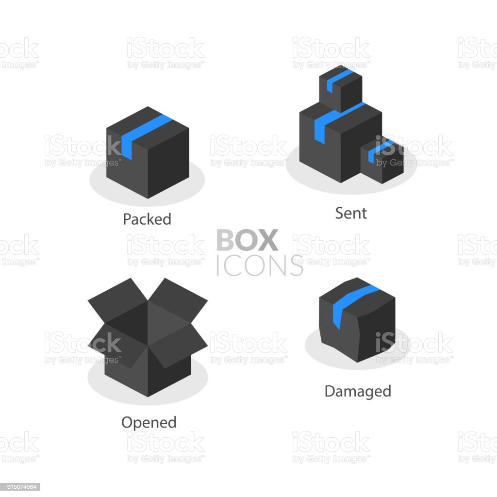 box template flat icons set stock vector art more images of arrow