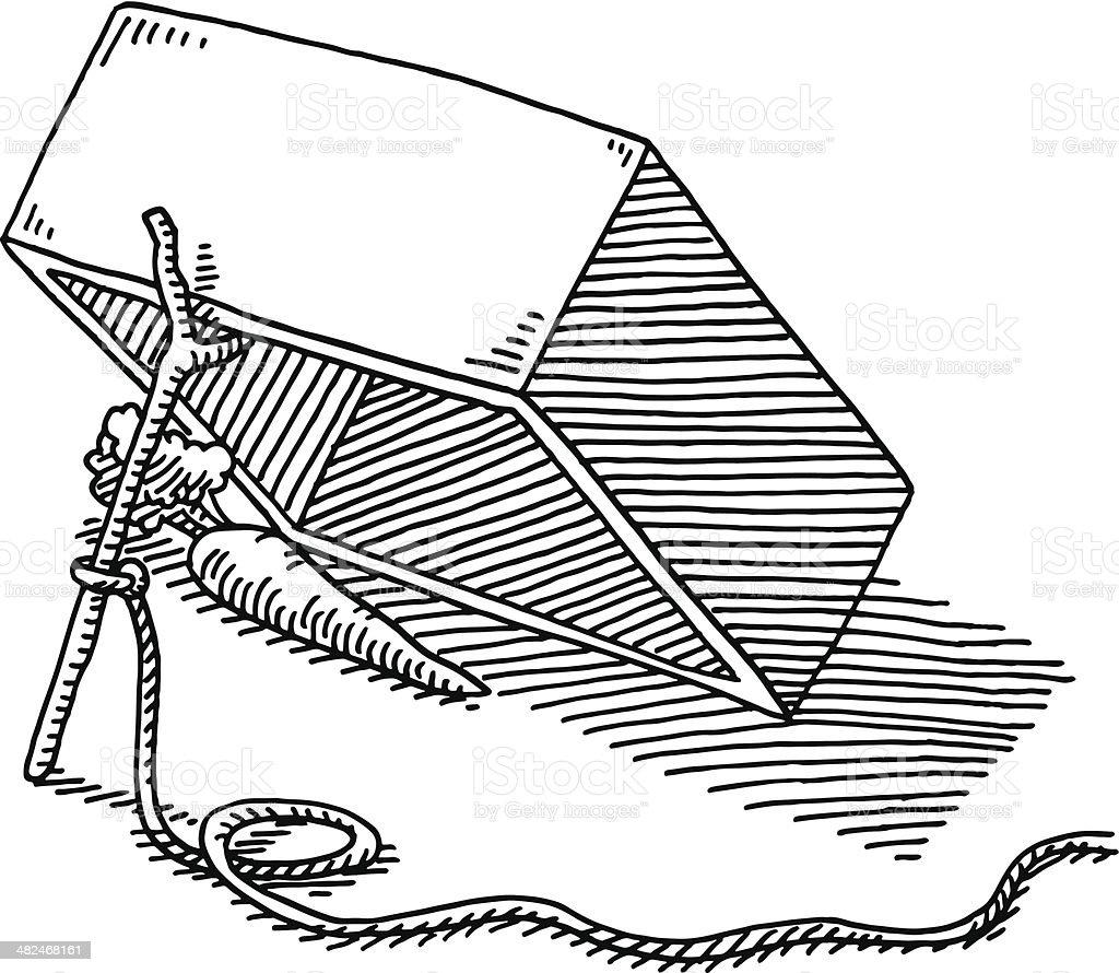 Box Trap Carrot Rope Drawing vector art illustration