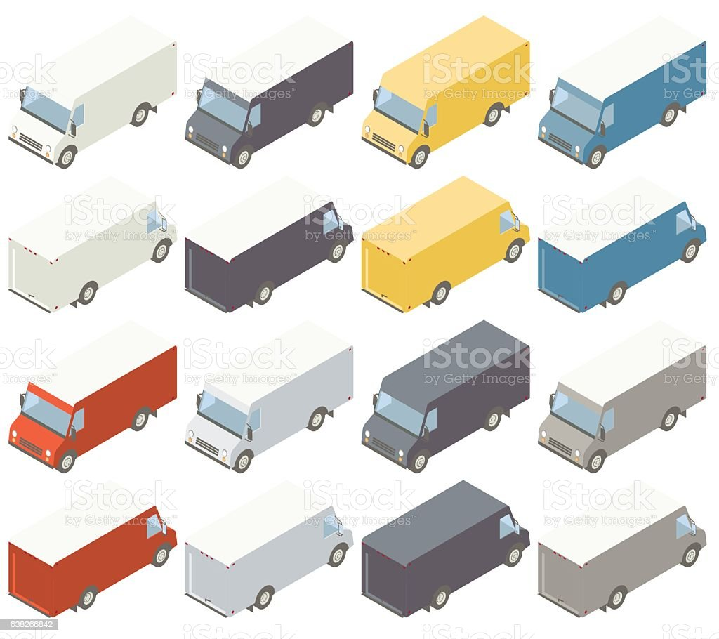 Box Trucks Isometric Illustration vector art illustration