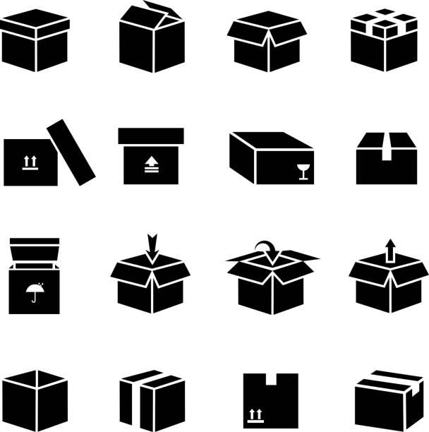 Box Vektor-icons set – Vektorgrafik