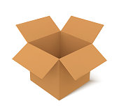 Open cardboard box square shape, mockup package, vector illustration