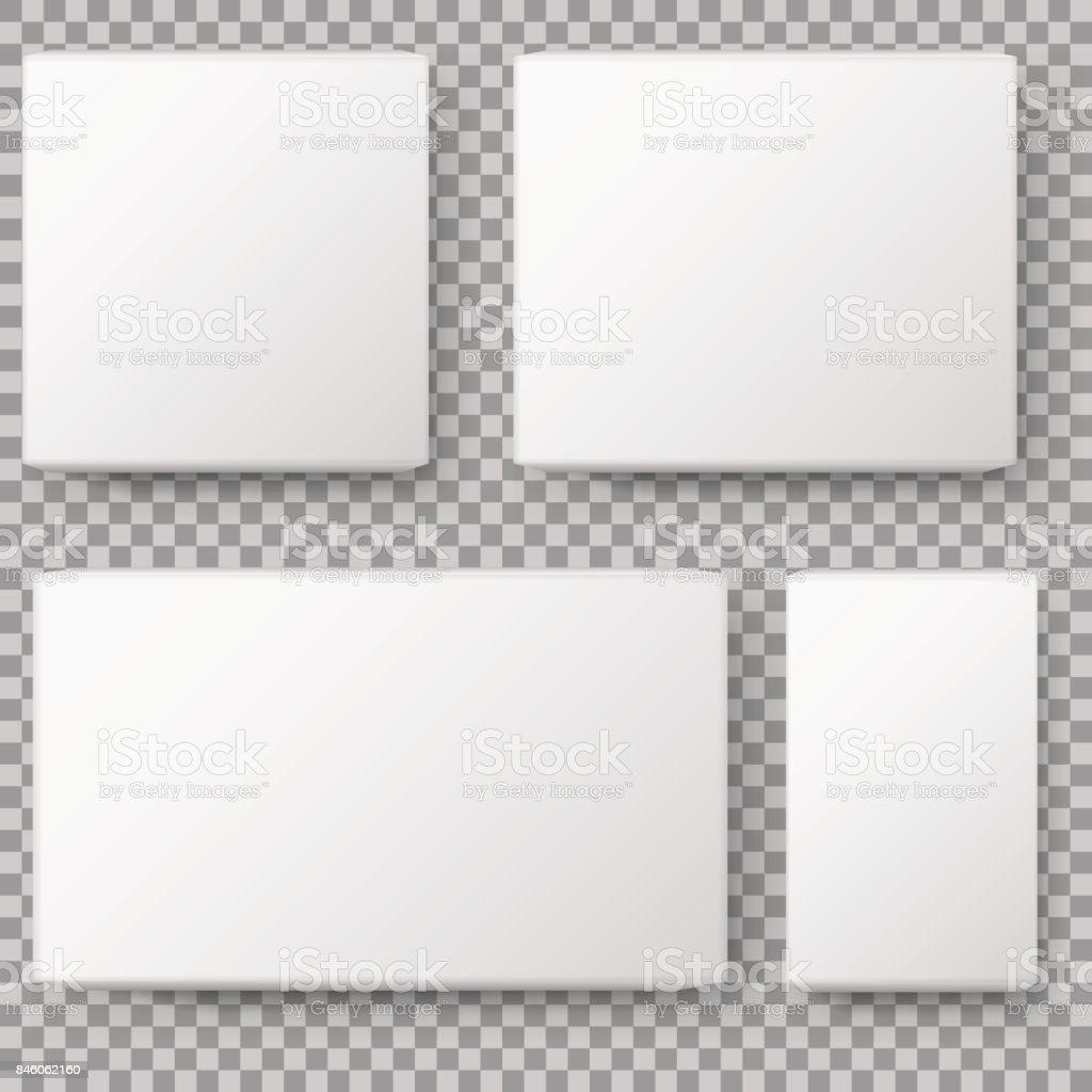 Vista na caixa. Realista branco em branco pacote caixa de papelão. isolado no fundo transparente. Ilustração em vetor. - ilustração de arte em vetor