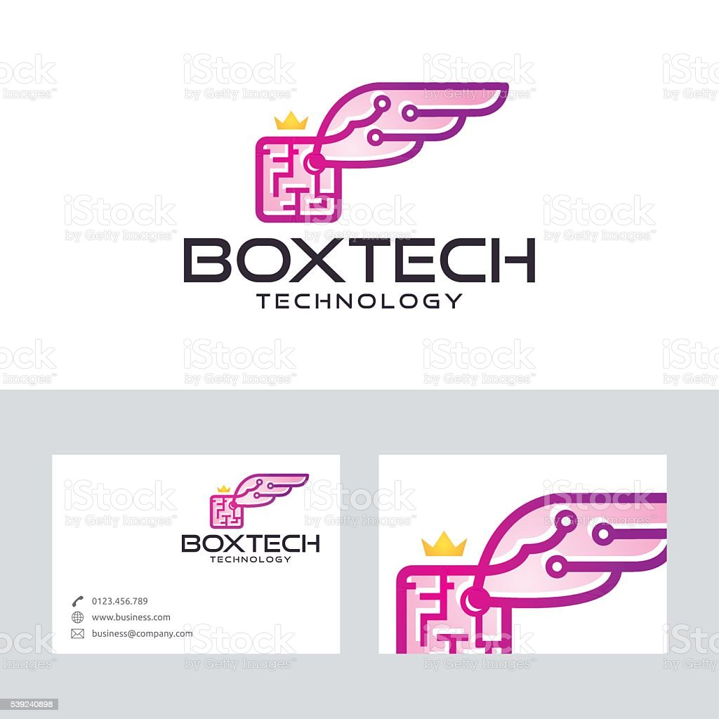 Box wings technology vector logo with business card template stock box wings technology vector logo with business card template royalty free stock vector art magicingreecefo Images