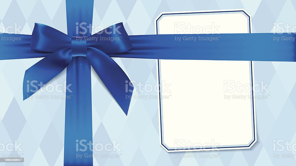 Box with a blue bow vector art illustration