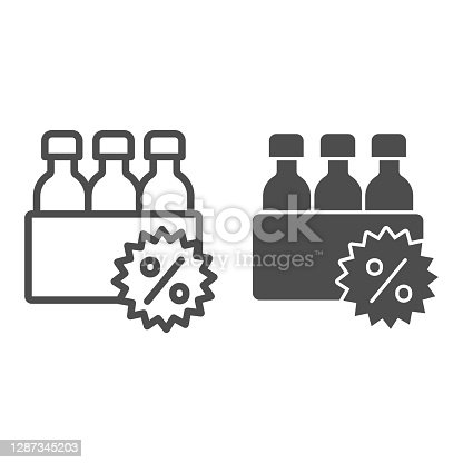 istock Box with bottles and percent discount line and solid icon, Black Friday concept, supermarket products sale sign on white background, bottles and percent icon in outline style. Vector graphics. 1287345203