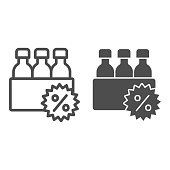 Box with bottles and percent discount line and solid icon, Black Friday concept, supermarket products sale sign on white background, bottles and percent icon in outline style. Vector graphics