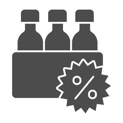 Box with bottles and percent discount solid icon, Black Friday concept, supermarket products sale sign on white background, bottles and percent icon in glyph style. Vector graphics.