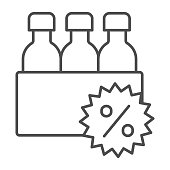 istock Box with bottles and percent discount thin line icon, Black Friday concept, supermarket products sale sign on white background, bottles and percent icon in outline style. Vector graphics. 1287346239