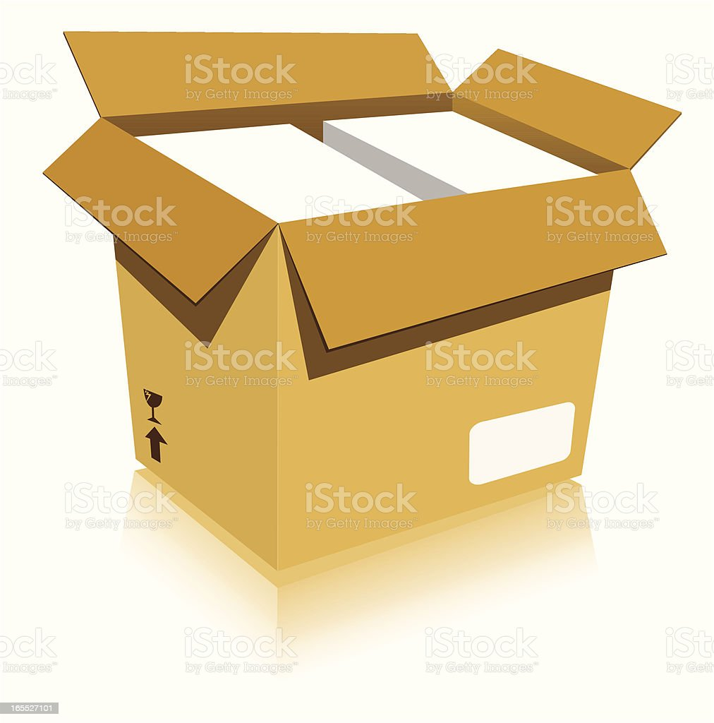 Box with goods and styrofoam - VECTOR royalty-free stock vector art