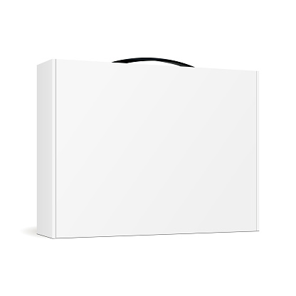 Box with handle for laptop - half side view