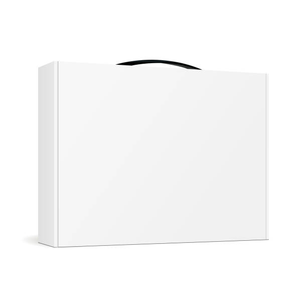 Box with handle for laptop - half side view Box with handle for laptop - half side view. Mockup for your design and logo. Vector illustration handle stock illustrations