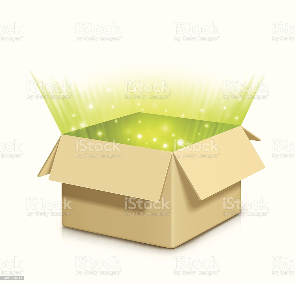 Box with something inside. vector art illustration