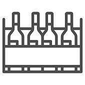 istock Box with wine bottles line icon, Wine festival concept, wine bottles in case sign on white background, alcohol drink in wooden crate icon in outline style for mobile, web. Vector graphics. 1281365230