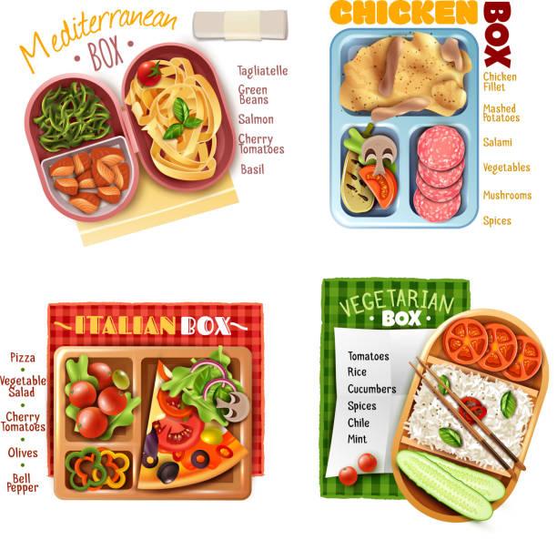 bildbanksillustrationer, clip art samt tecknat material och ikoner med boxed lunch design koncept - tagliatelle mushroom