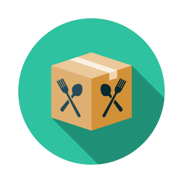 boxed meal kit icon - thin line fonts stock illustrations